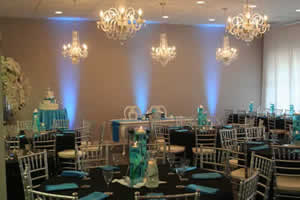 Light Blue Uplighting for a Wedding Reception | Rent online for $19/each + free shipping both ways nationwide at www.RentMyWedding.com/Rent-Uplighting