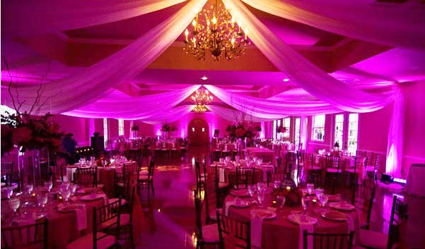 Wedding lighting in pink.  FREE shipping nationwide with Rent My Wedding.  Easy DIY setup for all rentals.