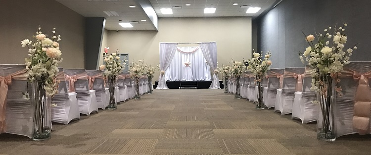 Elegant Drapery At Indoor Ceremony: Rent Pipe & Drape Backdrops With FREE Shipping Nationwide