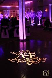 gobo rental example with monogram on dance floor