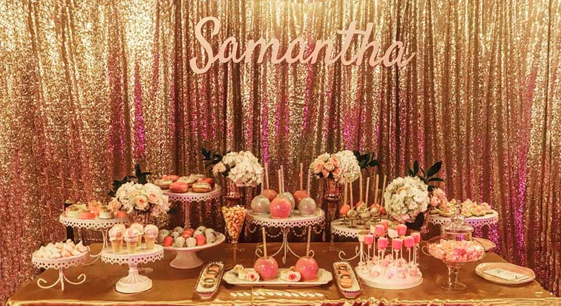 Gold Sequin Backdrop With Sweets Table