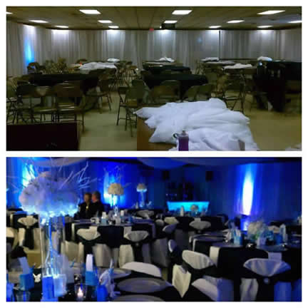 BEFORE AND AFTER UPLIGHTING! || Rent online at rentmywedding.com. FREE shipping nationwide! Easy DIY setup.