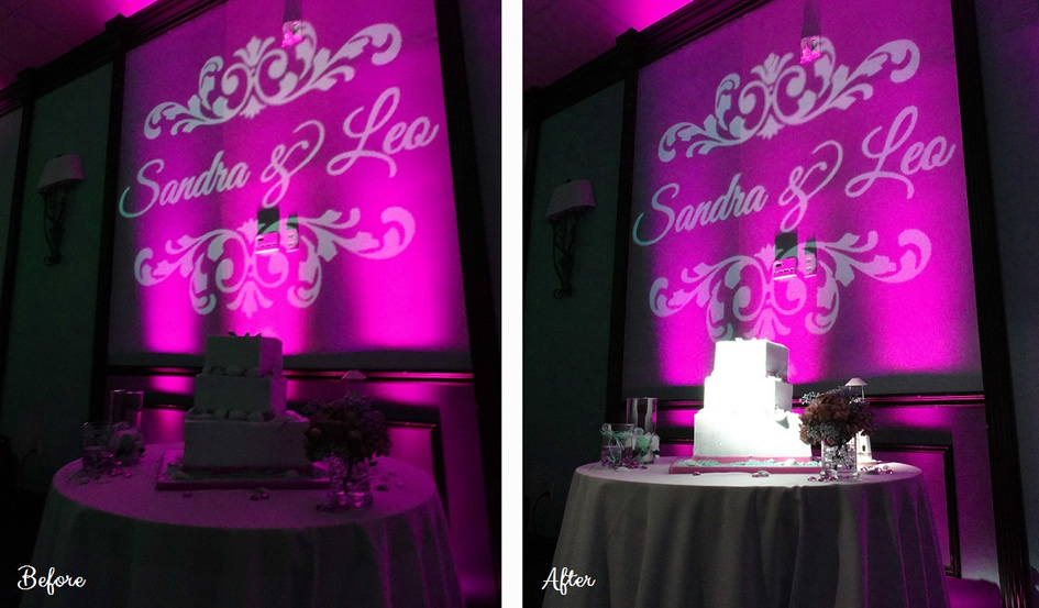 CAKE SPOTLIGHTS - BEFORE AND AFTER! || Rent online at rentmywedding.com with free shipping nationwide! Easy DIY setup.