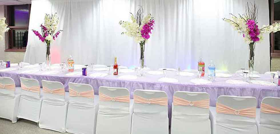 Banquet Chair Cover with Pink Sash