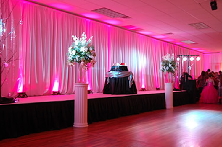PINK UPLIGHTING! || Rent online at rentmywedding.com. FREE shipping nationwide! Easy DIY setup.