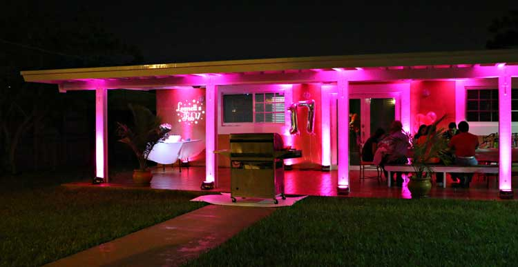 Rent wireless uplights with free shipping nationwide for weddings pink uplighting for outdoor party rent online for 19each free shipping both aloadofball Gallery