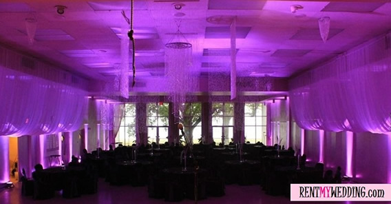 PURPLE UPLIGHTING || Rent online at rentmywedding.com. FREE shipping nationwide! Easy DIY setup.