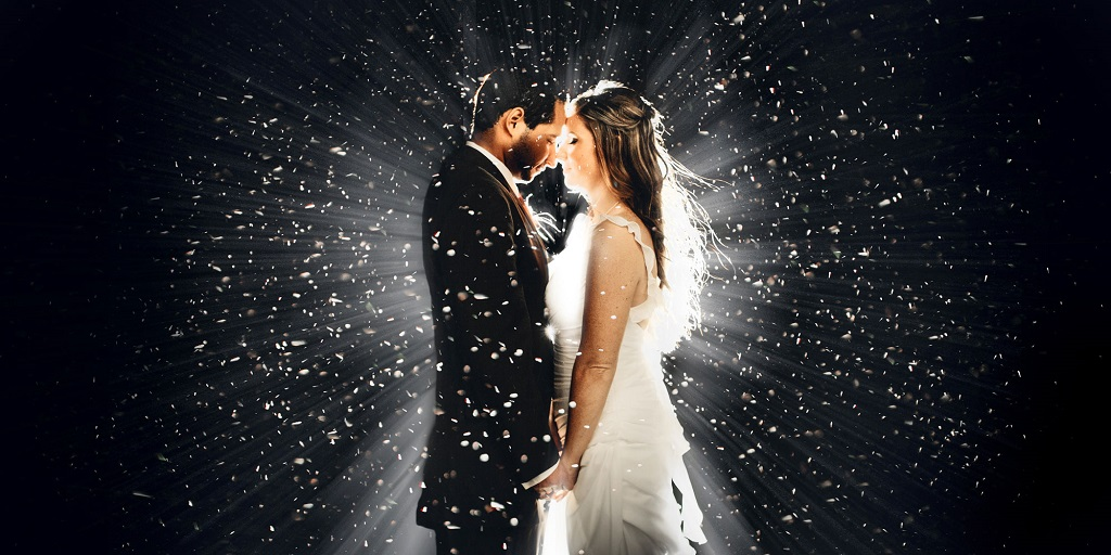 Magical confetti shot of couple at wedding