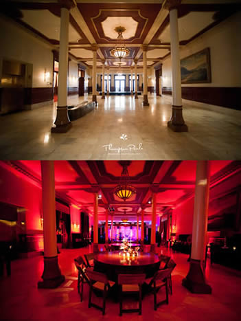 uplighting, before and after uplighting, wedding lighting, event lighting