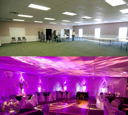 Before and After Uplighting, wedding lighting, uplighting, before and after up lights