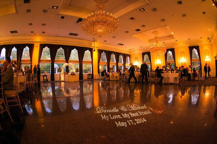 Amber Gold Uplighting in Ballroom | Rent online for $19/each + free shipping both ways nationwide at www.RentMyWedding.com/Rent-Uplighting
