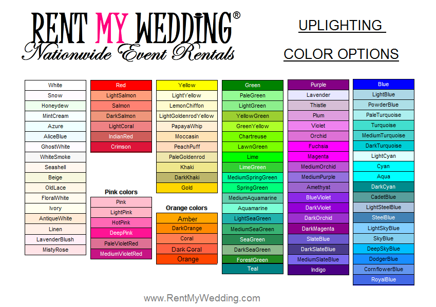 Wireless Uplighting Rentals Rent My Wedding